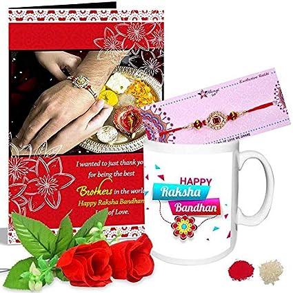 Buy designer red gem rakhi happy raksha bandhan greeting card 2 red designer red gem rakhi happy raksha bandhan greeting card 2 red roses mug hamper m4hsunfo