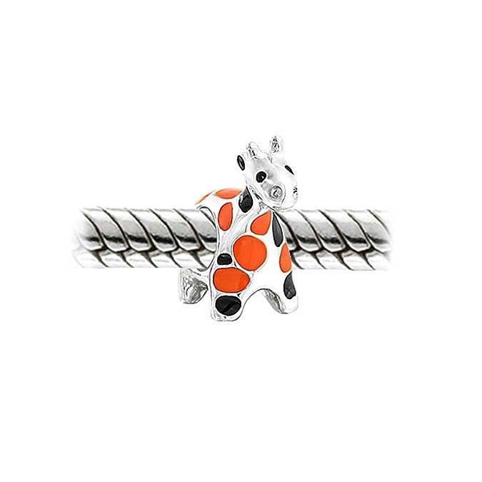 Bling Jewelry 925 Sterling Silver Orange Black Giraffe Animal Bead Charm YbLE1Q