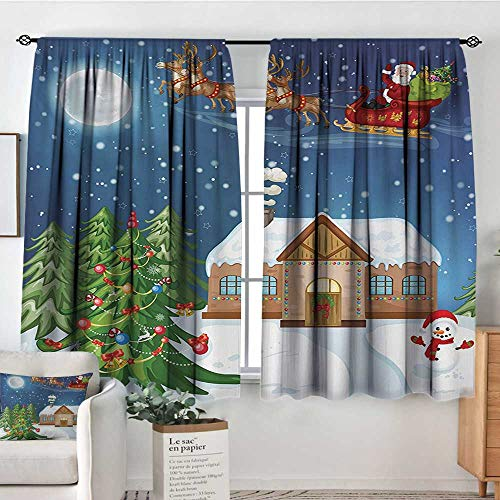 All of better Christmas Custom Curtains Classical Xmas Scenery Santa Delivering Presents with Rudolf The Red Nosed Reindeer Kid Blackout Curtains 55