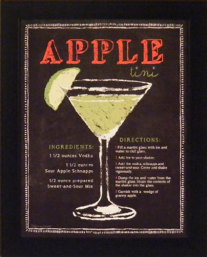 Appletini by Stephanie Marrott 13x16 Apple Martini Drink Recipe Chalkboard Art Framed Print Bar Décor Picture (Best Apple Martini Recipe)