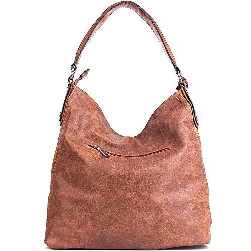UTAKE Handbags Shoulder Brown PU Purses Tote Handle Leather Top Large Women Capacity wUqp5fq