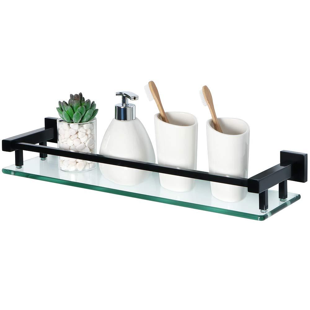 Alise GC2000-B Bathroom Shelves Shower Glass Shelf Wall Mount,SUS 304 Stainless Steel Matte Black