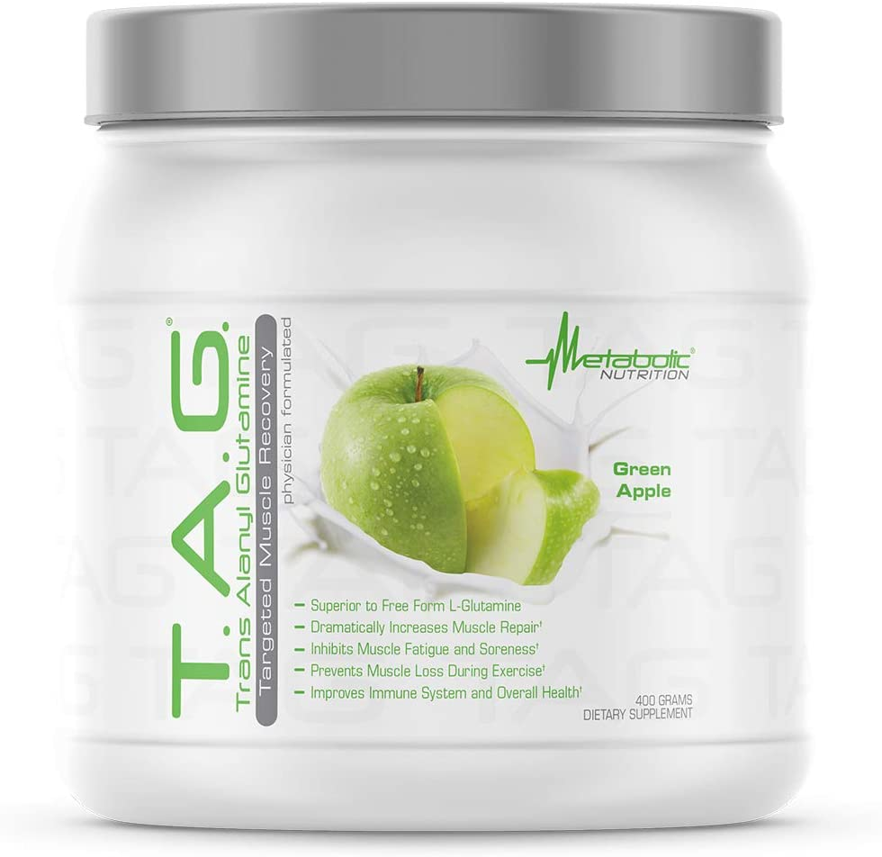 Metabolic Nutrition, TAG, Trans Alanyl Glutamine, 100% L-Glutamine Peptide Powder, Pre Intra Post Workout Supplement, 400 Grams (40 Servings) (Green Apple)