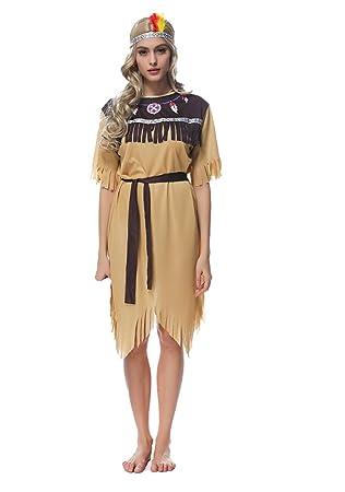 d0244e62118105 Indianerin Cosplay Kostüm Prinzessin Kostüm Wilder Karneval Fasching  Halloween Party Outfit Damen 3-teilig:
