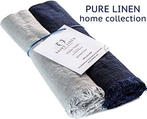 Dish 2 Towels Kitchen (Set of 2 Linen Kitchen Towels Dish Cloth Stone Washed Towels in Grey and Dark Blue Size 17'' x 27''  Pure Linen with High Absorption, Soft Fabric and Lint-Free Safe for Machine Wash Drying)