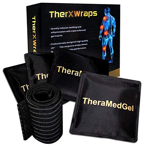 Ice Packs for Injuries Reusable Gel Wrap Cold Compress Pack for Shoulder, Migraine Headache, Neck, Knee, Ankle, Carpal Tunnel Syndrome, Injury Pain Relief w/Compression Wrap by TherXWraps (Ankle Carpal Tunnel)