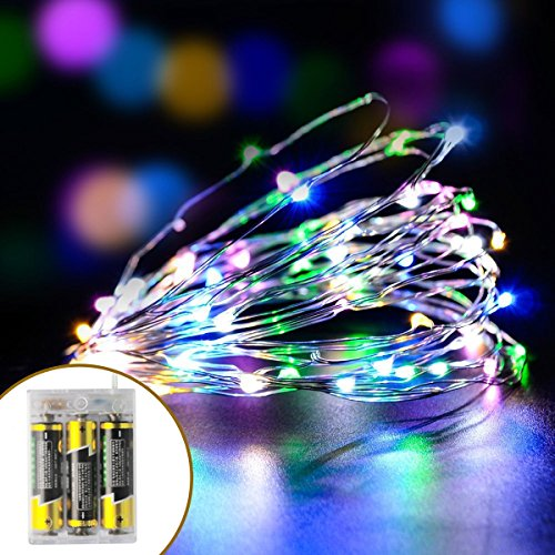 Micro LED String Lights, 2 Set 16ft Rope Lights Copper Wire for Trees Wedding Parties, Battery Operated (Colorful and Warm White) (Ornament Bicycle Holiday)