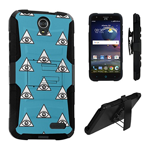 ZTE Grand X3 Case, DuroCase Hybrid Dual Layer Combat Armor Style Kickstand Case w/ Belt Clip Holster Combo for ZTE Grand X 3 (X3) Z959 (Released in 2016) - (Eye - Mall Providence In