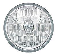 "Adjure 7"" Ventura Highway Design Motorcycle Headlight Bucket Combo with Diamond Cut Skull Headlamp"