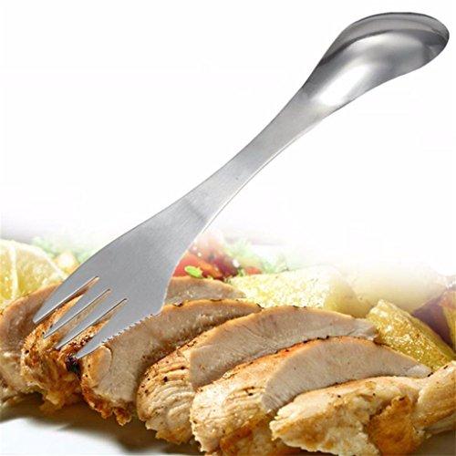 Wenbest 3en 1Ustensiles de Cuisine Vaisselle couteau/fourchette/cuillère Camping pique-nique Spork Couverts