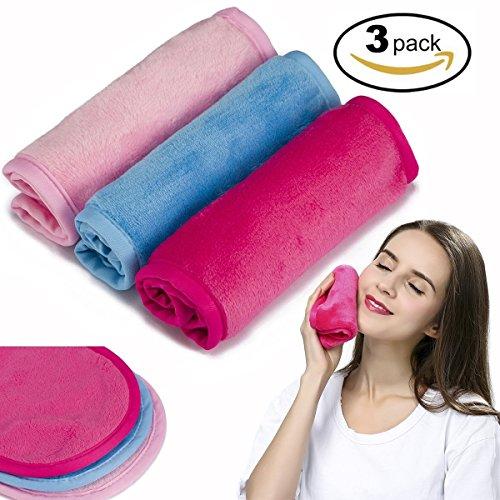 Make-up Entferner Tuch 3 Pack - Chemical Free - Bewegen Sie Make-up sofort nur mit Wasser - Wiederverwendbare Gesichtsreinigung Handtuch - Geld-zurück-Garantie (1Pink+1Blue+1Rosy)