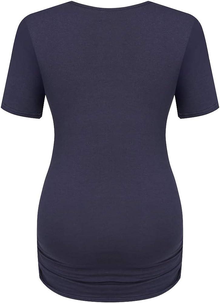 Derssity Women Maternity Shirt Short Sleeve Maternity Casual Tunic Tops Blouse Button-Down