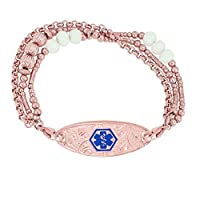 Divoti Deep Custom Laser Engraved PVD Rose Gold Tri-Strand Beaded Lovely Filigree Medical Alert Bracelet for Women -TP Blue/TP Red
