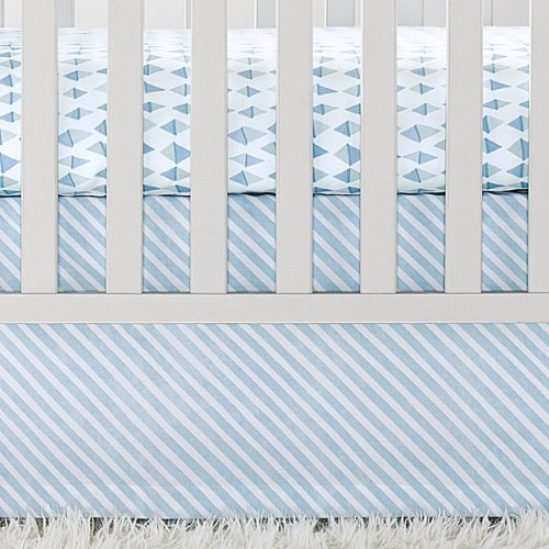 - Serena and Lily Signature Crib Skirt, Aqua Candy Stripe