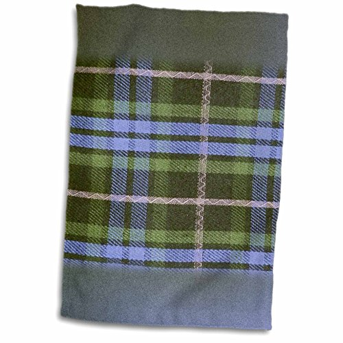 3dRose InspirationzStore Tartans - Blue and Green tartan pattern with black and grey gray - plaid checks checkered Scottish Scotland - 12x18 Towel (twl_113035_1)