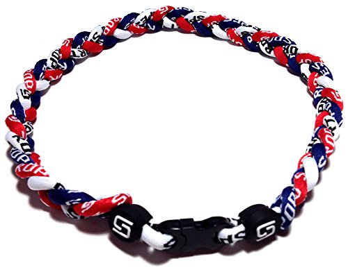 Sport Ropes 3 Rope Titanium Necklace (Red/White/Navy, 22