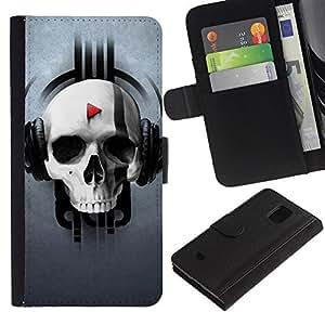 KingStore / Leather Etui en cuir / Samsung Galaxy S5 Mini, SM-G800 / Modelo del cráneo de la música