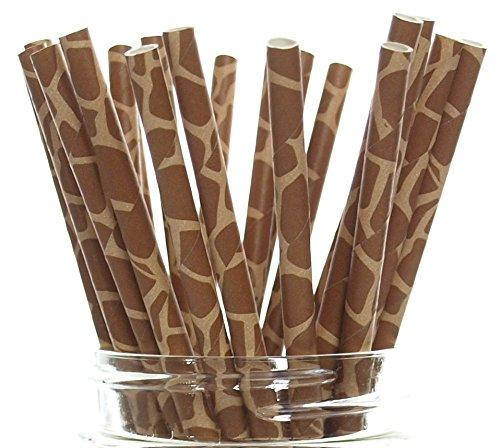 Giraffe Print Straws (25 Pack) - Giraffe Pattern Paper Straws, Giraffe Party Supplies, Giraffe Spot Drinking Straws