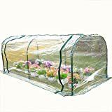 KJ Home Portable Mini Greenhouse 7'×3'×3' Outdoor Plants Shed Gardening Flower Tunnel Hot House with Zipper Door