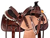 "AceRugs 15"" 16"" 17"" Rough Out Western Tooled Ranch Roping Pleasure Horse Saddle TACK Set Leather"