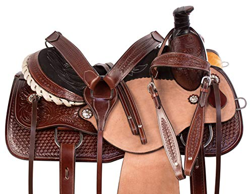 """AceRugs 15"""" 16"""" 17"""" Rough Out Western Tooled Ranch Roping Pleasure Horse Saddle TACK Set Leather (16) -"""