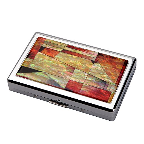 (Mother of Pearl Red Pink Blue Colorful Patchwork Mosaic Extra Long 100S Super Slim King Size 16 Cigarette Engraved Metal Steel RFID Blocking Protection Credit Business Card US Bill Holder Case Box)