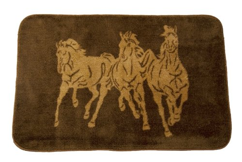 Dynamic Rugs Acrylic Rug - HiEnd Accents Three Horses Kitchen and Bath Western Rug, Chocolate