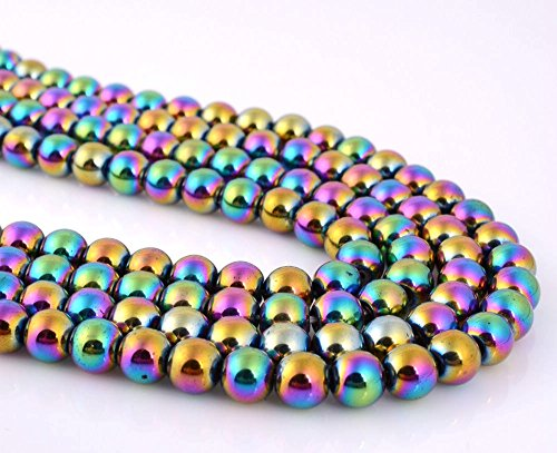 jennysun2010 4mm Natural Non-Magnetic Hematite Gemstone Round Ball Beads 16'' Inches Metallic Multi-Colored 1 Strand for Bracelet Necklace Earrings Jewelry Making Crafts Design Healing ()