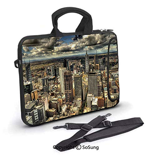 10 inch Laptop Case,Melbourne Cityscape Modern Australia Architecture Buildings Metropolis Dramatic Sky Neoprene Laptop Shoulder Bag Sleeve Case with Handle and Carrying & External Side Pocket,for Net (Best Laptop For Architecture Student Australia)