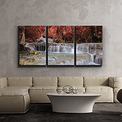 3 Piece Canvas Print - Secluded Waterfall Surrounded by Exquisite red Trees - Giclee Artwork - Gallery Wrapped Wood Stretcher Bars - Ready to Hang 16
