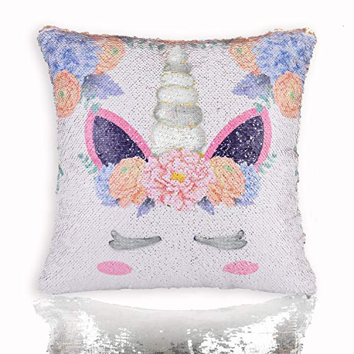 - Unicorn Mermaid Scale Sequins Pillow Case Reversible Throw Cushion Cover Decor for Christmas, Birthday Party, Silver Pillowcase, 16
