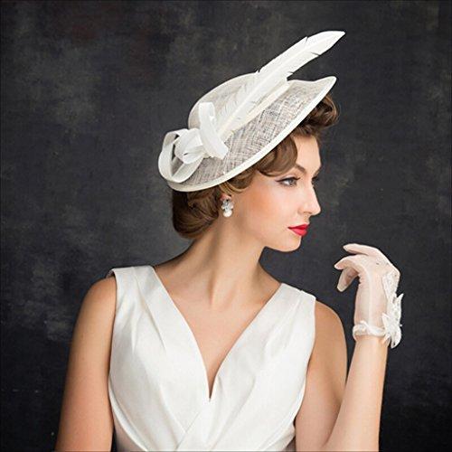 Hqq Para Hat Beige Tocado Wonen De Nupcial Elegante Bowler Retro Feather Material Lino rq1cE6rw7