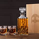 Personalized Whiskey Decanter & Glasses Set Wood Box Groomsmen Gifts Boyfriend Gifts For Him