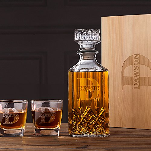 Personalized Whiskey Decanter & Glasses Set Wood Box Groomsmen Gifts Boyfriend Gifts For Him -