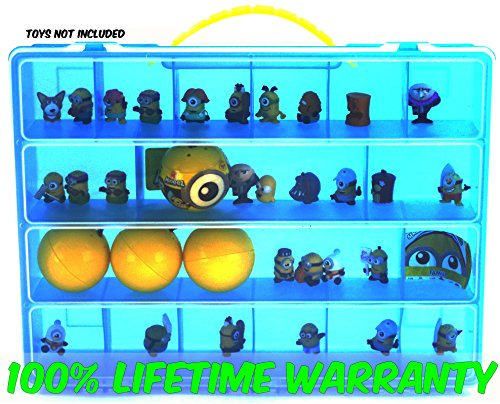 Despicable Me Minions Carrying Case - Stores Dozens Of Mini Figures - Durable Toy Storage Organizers By Life Made Better - Blue