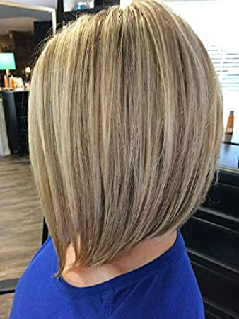 Laavoo 1025cm Highlights Perucken Lace Front Echt Haare Bob Wigs 130 Dichte Freier Teil Glueless Peruvian Perucke Aschblond 18 Zu Gebleichtes