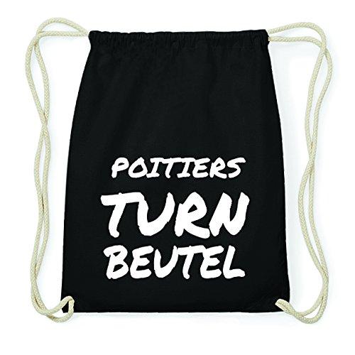 JOllify POITIERS Hipster Turnbeutel Tasche Rucksack aus Baumwolle - Farbe: schwarz Design: Turnbeutel