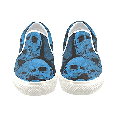 D-story Custom Cool Blue Skull Print Mens Scarpe Di Tela Scarpe Da Ginnastica Sneaker