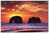 Northwest Art Mall Twin Rocks At Rockaway Beach, Oregon Photo Art Print by Steve Terrill (12'' x 18'').