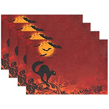 Happy Halloween Placemats for Dinning Table Washable by AIDEESS,Black Cat Bat Non-slip Heat-insulation Kitchen Table Pads Mats