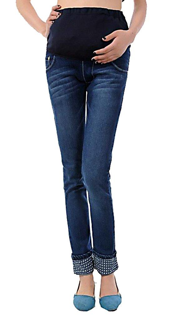Maternity Modern Skinny Jeans MTRNJ0010, High Elastic Waist Pregnancy Clothes Blue Medium