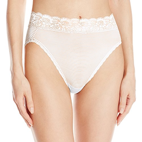 Vanity Fair Women's Flattering Lace Hi Cut Panty 13280, Star White Novelty, X-Large/8