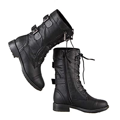 Ivay Women's Military Combat Boots Ankle Lace Up Buckle Zipper Shoes | Ankle & Bootie