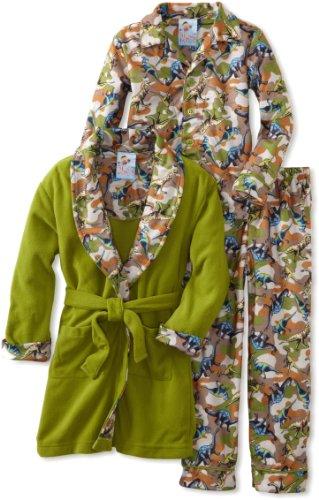 Baby Bunz Little Boys' Dino Camo 3 Piece Robe And Pajama Set, Multi, 6