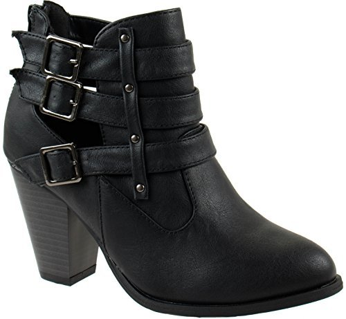 Forever Shoes Women's Camila-62 Black Short Ankle Riding Boots with Chunky Heel and Three Buckled Strap 6.5 D(M) US