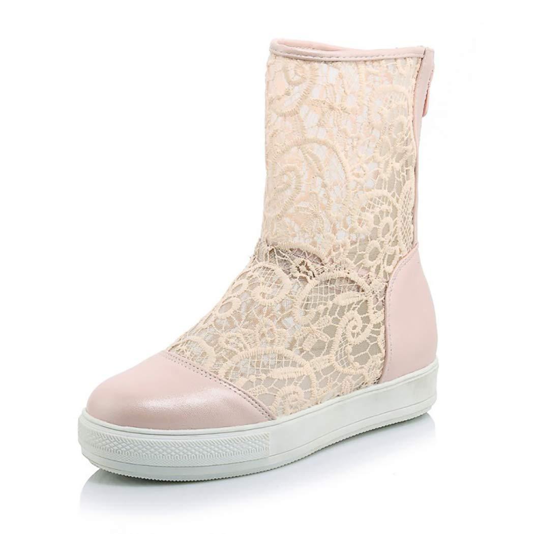 rose Mzq-yq Mocassins femmes fermeture éclair bottes maille maille gaze plate-forme Décontracté chaussures femmes d'été sandales dentelle haute creux chaussures  profitez de 50% de réduction
