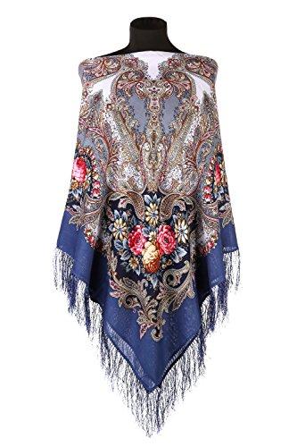 Pavlovo Posad Russian Shawl Pashmina Wool 49x49'' in 4 vibrant colors (Blue)
