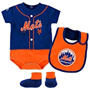 New York Mets Tiny Player Creeper, Bib, and Bootie Set 6-9 Months