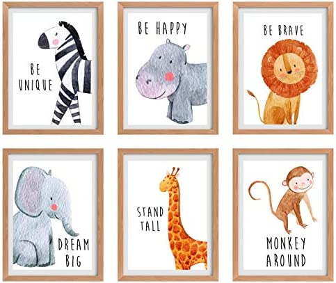 Nursery Wall Decor, Baby Wall Decor, Safari Nursery Wall Decor, Nursery Wall Art,Baby Decor, Safari Nursery, Jungle Nursery Decor, Baby Animal Pictures for Nursery, Nursery Art Set of 6 8x10in.