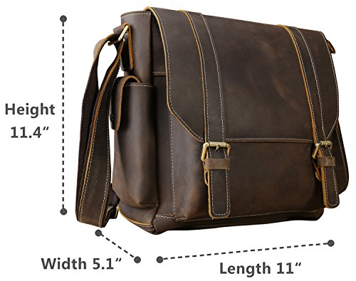 Iswee Leather Crossbody Shoulder Bag Small Messenger Satchel Bag Work Business Travel Bag for Men (Dark Brown) by Iswee (Image #6)